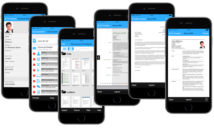 Ultimate CV, app for iPhone, iPad creates CVs and Cover letters.